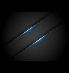 Abstract blue light line banner shadow on black vector