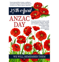 Anzac day 25 april poppy war memory poster vector