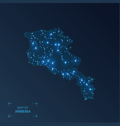Armenia map with cities luminous dots - neon vector