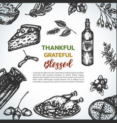 background collection of hand drawn thanksgiving vector image