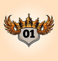badge king flying crown vector image
