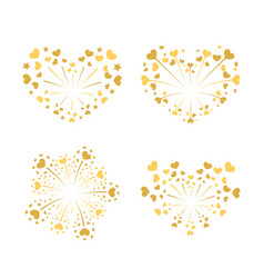 Beautiful heart-fireworks set gold romantic vector
