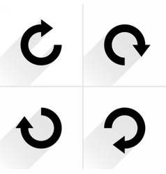Black arrow sign refresh rotation reset icon vector