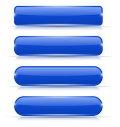 blue glass buttons set of long rectangular web vector image