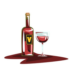 Bottle of red wine and glass winery production vector