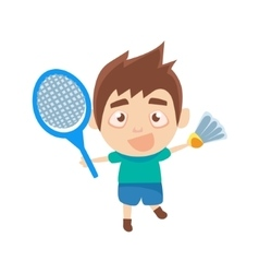 Boy Sportsman Playing Badminton Part Of Child vector