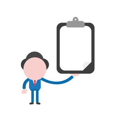 Businessman holding clipboard with blank paper vector