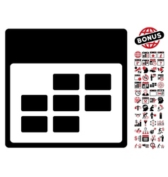 Calendar Month Grid Flat Icon With Bonus vector