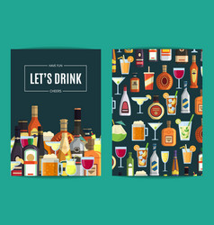 Card flyer or brochure template for bar vector