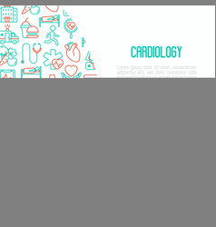 Cardiology concept with thin line icons set vector