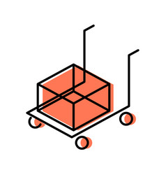 cart line icon for shipping vector image