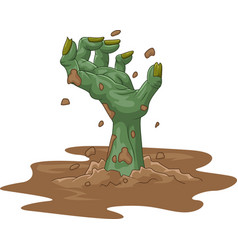 cartoon zombie hand out of the ground isolated on vector image