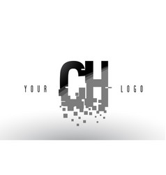 Ch c h pixel letter logo with digital shattered vector