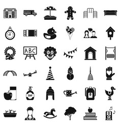 Children playground icons set simple style vector