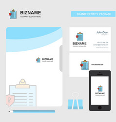 clipboard business logo file cover visiting card vector image