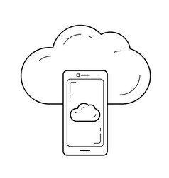 cloud sync line icon vector image