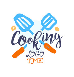 Cooking food logo template with crossed scapulas vector