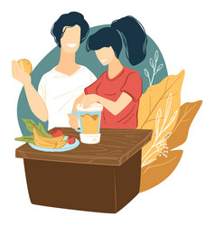 couple making fresh smoothie tropical fruits vector image