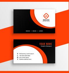 creative orange business card with curvy shape vector image