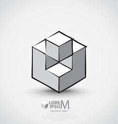 Cube outlined logo vector image