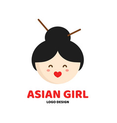Cute beauty asian girl face logo template vector