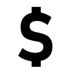 dollar icon on black background flat style vector image