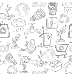 Doodle Ecology Seamless vector image