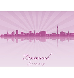 Dortmund skyline in radiant orchid vector