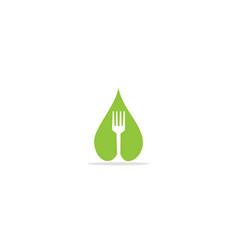 droplet fork eco logo vector image