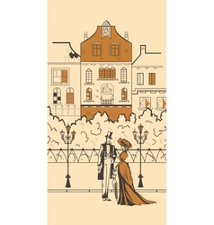 England town silhouette with people vector image