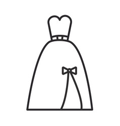 Evening bridal dress line icon sign vector