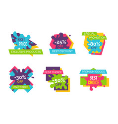 exclusive products huge sale bright logotypes set vector image
