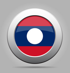 flag of laos shiny metal gray round button vector image