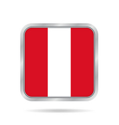 Flag of peru shiny metallic gray square button vector