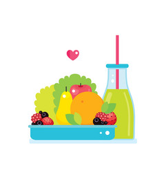 fresh vegetables greens fruits bowl and bottle of vector image