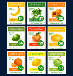 Fruit tag and label set for organic shop design vector