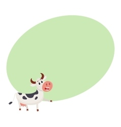 Funny black and white spotted cow character vector image