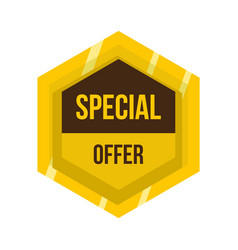 Golden special offer label icon flat style vector