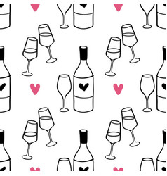 hand drawn romantic doodle pattern-01 vector image