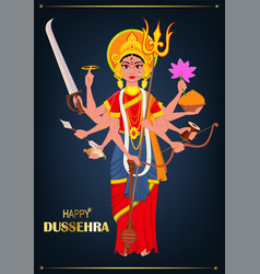 happy dussehra maa durga on dark blue background vector image