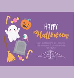happy halloween cute ghost creepy eye tombstone vector image