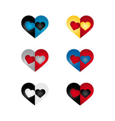 Hearts set bi color vector