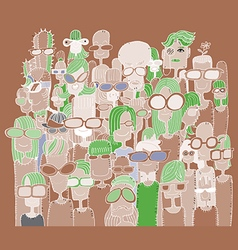 Hipster hand drawn Doodle crowd of happy people in vector