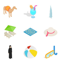 Hospitality sector icons set isometric style vector