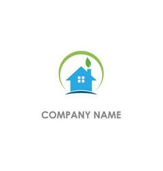 house realty eco leaf company logo vector image