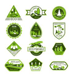 Icons set eco nature ecology company vector