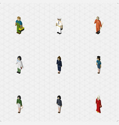 isometric person set of plumber female pedagogue vector image