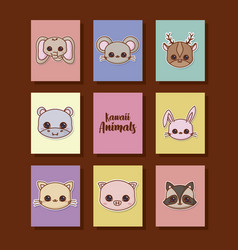 Kawaii animals desing vector