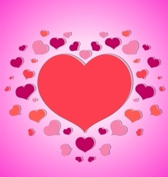 Little hearts around a big red heart pink vector