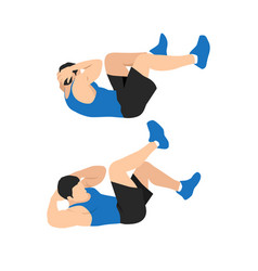 Man doing abdominal workout with bicycle crunch vector